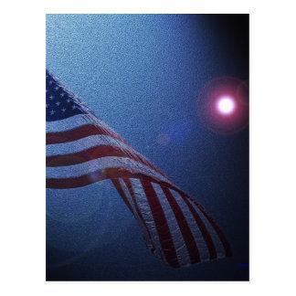 ¡Bandera americana!  ¡Resplandor del rojo de Rocke Tarjetas Postales