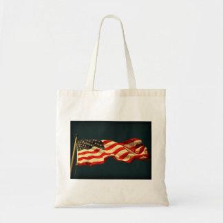 Bandera americana reutilizable bolsa lienzo