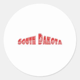 Bandera americana roja Dakota del Sur Pegatina Redonda