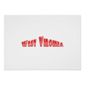 Bandera americana roja Virginia Occidental Poster
