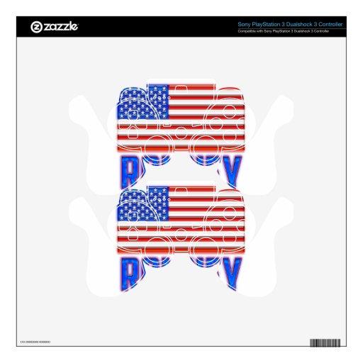 Bandera americana Romeny brillante Calcomanía Para Mando PS3