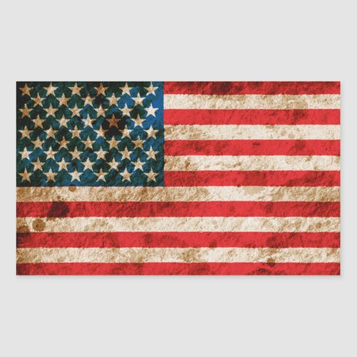 Bandera americana rugosa pegatina rectangular