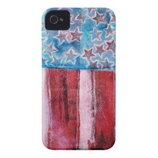 Bandera americana rústica iPhone 4 carcasas