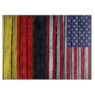 Bandera americana rústica y bandera alemana tabla de cortar