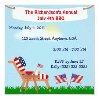 Bandera americana silla Bbq del 4 de julio o del Invitación 13,3 Cm X 13,3cm