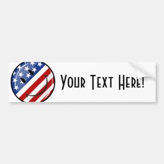 Bandera americana sonriente de la ronda brillante pegatina para auto