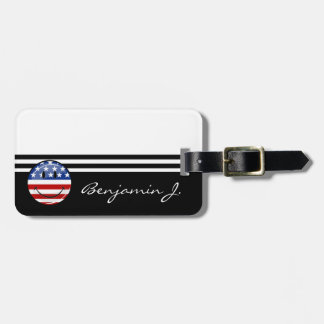 Bandera americana sonriente de la ronda brillante etiquetas maletas