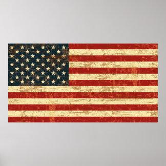 Bandera americana sucia póster