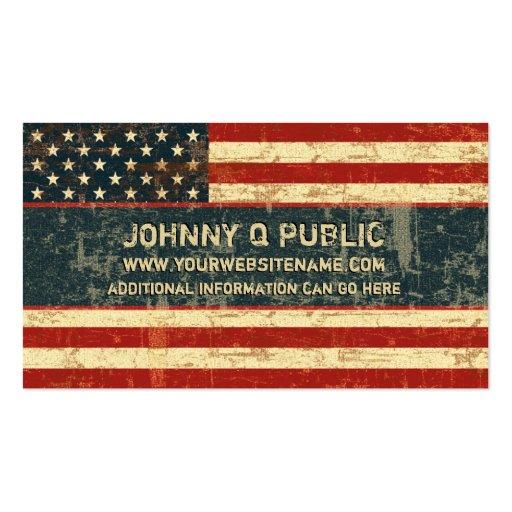 Bandera americana sucia tarjetas de visita