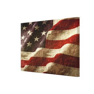 Bandera americana tallada en piedra impresiones en lienzo estiradas