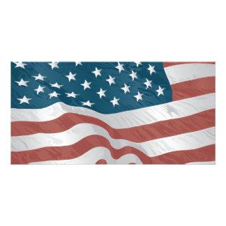 Bandera americana tarjeta personal con foto