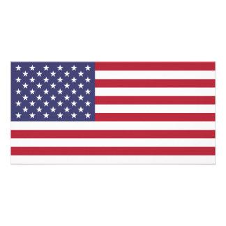 Bandera americana tarjeta fotografica personalizada