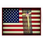 Bandera americana/tarjeta de nota militar de la
