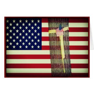 Bandera americana/tarjeta de nota militar de la tarjeta pequeña