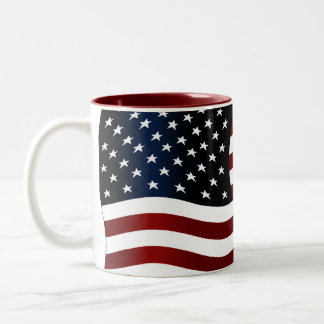 Bandera americana taza de café de dos colores