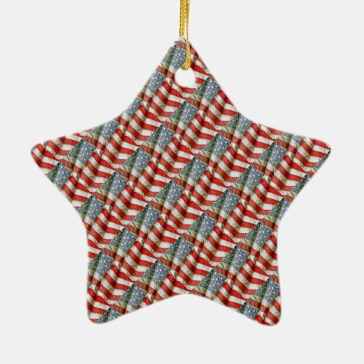 Bandera americana tejada del modelo adorno navideño de cerámica en forma de estrella