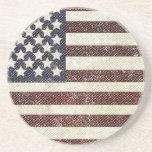 Bandera americana texturizada del viejo estilo posavasos personalizados