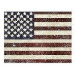 Bandera americana texturizada del viejo estilo postal