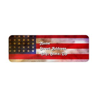 Bandera americana texturizada Grunge Etiquetas De Remite