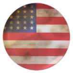 Bandera americana texturizada Grunge Platos Para Fiestas
