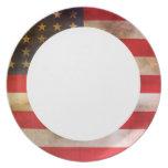 Bandera americana texturizada Grunge Plato De Cena