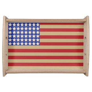 Bandera americana vieja bandeja