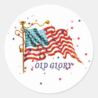 Bandera americana, vieja gloria pegatina redonda