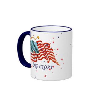 Bandera americana, vieja gloria tazas de café