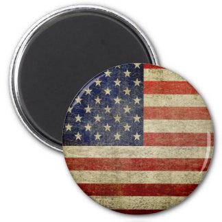 Bandera americana vieja imán redondo 5 cm