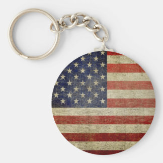 Bandera americana vieja llavero redondo tipo pin