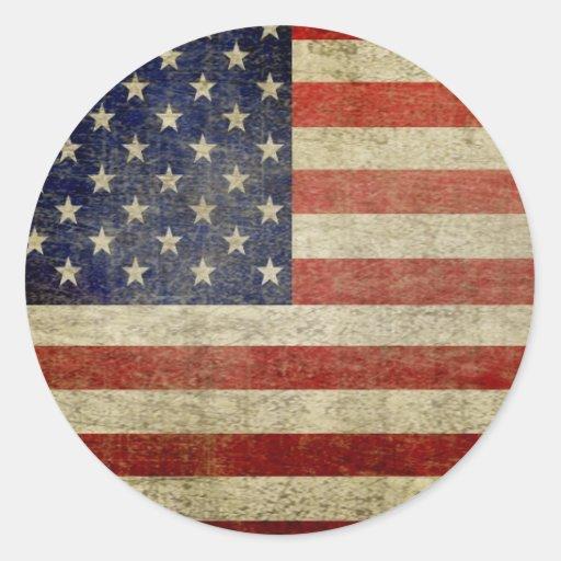 Bandera americana vieja etiquetas redondas