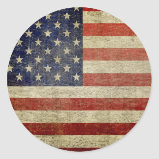 Bandera americana vieja pegatina redonda