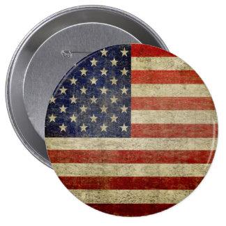 Bandera americana vieja pin redondo de 4 pulgadas