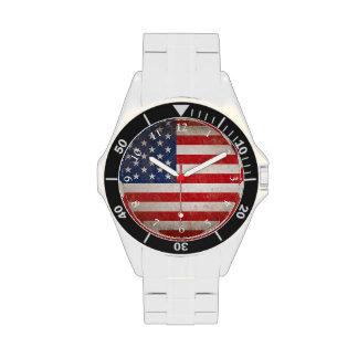 Bandera americana w/Numbers del vintage Reloj De Mano