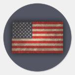 Bandera americana - xdist etiqueta redonda