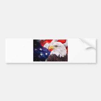 Bandera americana y águila 2 pegatina de parachoque