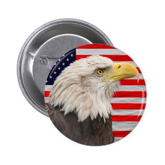 Bandera americana y águila calva pin redondo de 2 pulgadas