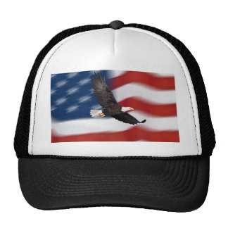 Bandera americana y águila gorras