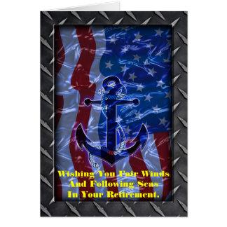 Bandera americana y ancla navales tarjeta de felicitación