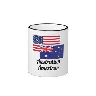 Bandera americana y australiana taza de dos colores