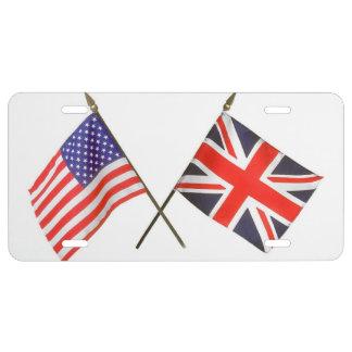 Bandera americana y británica blanca y azul roja placa de matrícula