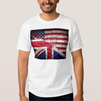 Bandera americana y británica poleras