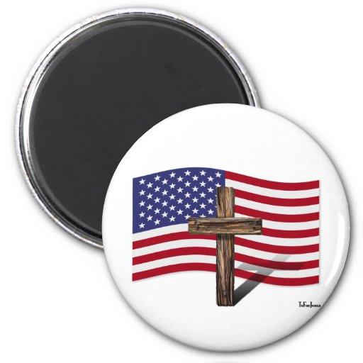 Bandera americana y cruz rugosa imán redondo 5 cm