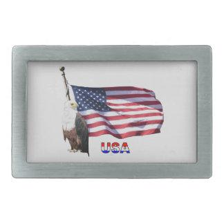 Bandera americana y Eagle de los E.E.U.U. Hebillas Cinturon Rectangulares