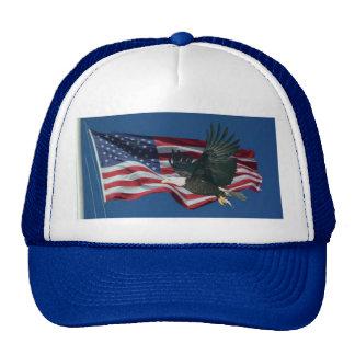 Bandera americana y Eagle Gorros Bordados