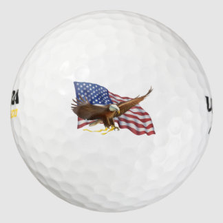 Bandera americana y Eagle Pack De Pelotas De Golf