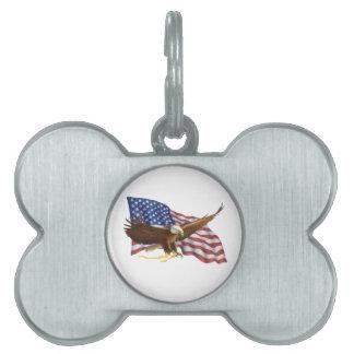 Bandera americana y Eagle Placa Mascota
