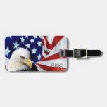 Bandera americana y etiquetas patrióticas del equi etiquetas bolsas