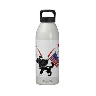 Bandera americana y fuegos artificiales botallas de agua