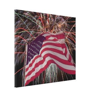Bandera americana y fuegos artificiales impresión en lienzo